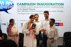 Dr.Tharoor releasing the 'I am an Entrepreneur' video CD