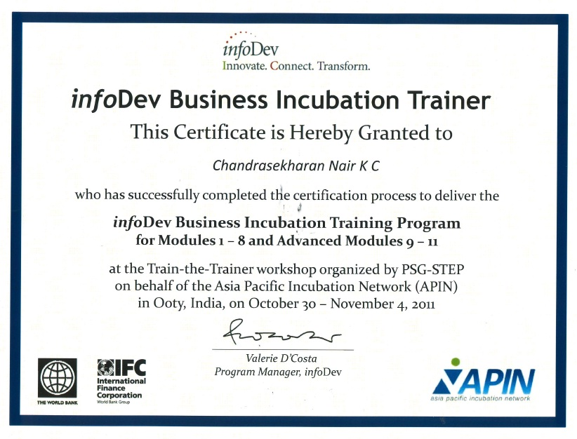 Dr Kcc Nair Certified As Infodev Trainer In Business Incubation