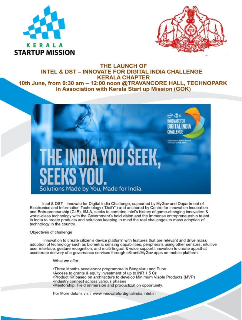 Launch -Innovate for digital India Challenge- Kerala Chapter